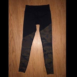 CARBON38 camo and black leggings.